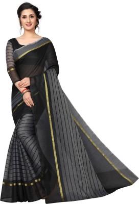 vedu creation Striped Daily Wear Cotton Silk Saree Grey