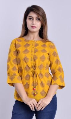 DUENITE Casual Slit Sleeve Printed Women Yellow Top