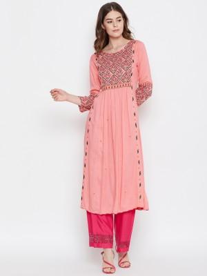 Prakhya Women Printed A-line Kurta(Pink)