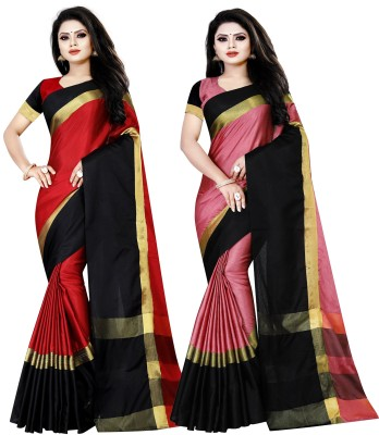 Saree Collection Striped Fashion Cotton Silk Saree(Pack of 2, Red, Pink)