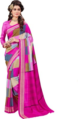 AJS Printed Fashion Poly Crepe Saree Multicolor