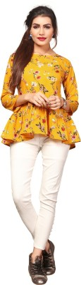 HIVA TRENDZ Casual Regular Sleeve Printed Women Yellow Top