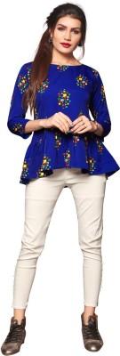 HIVA TRENDZ Casual Regular Sleeve Printed Women Blue Top