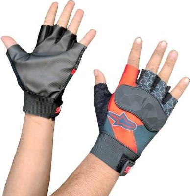zaysoo Gloves for Riding, Mountain Bike Half Finger Anti slip Gloves Gym & Fitness Gloves(Red)