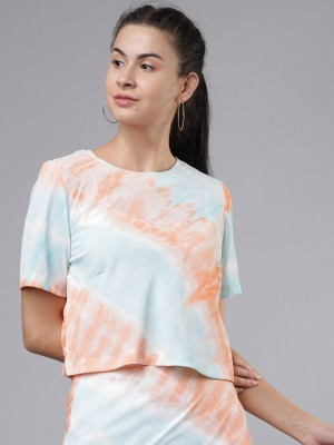 TOKYO TALKIES Casual Short Sleeve Tie   Dye Women Multicolor Top