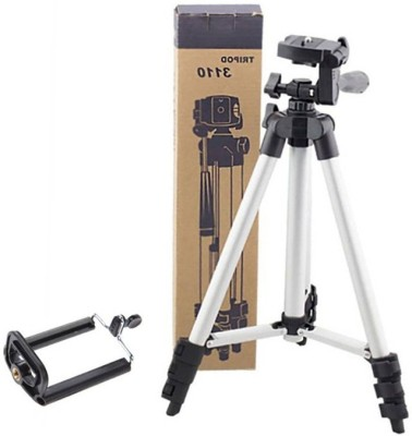 LIFEMUSIC Aluminium Lightweight Camera Stand Tripod-3110 With Three-Dimensional Head & Quick Release Plate For Video Cameras and mobile clip holder for Mobiles & Smartphones Tripod(Silver & Black, Supports Up to 1500 g) 1