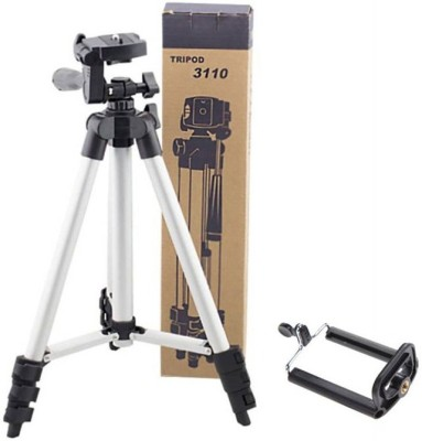 LIFEMUSIC Tripod New Arrival Adjustable Portable AluminiumCamera Tripod Stand With 3-Way Head Tripod for Digital Camera DV Camcorder, Tripod with mobile Phone holder mount Tripod Tripod(Silver, Supports Up to 3000 g) 1