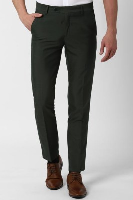 Peter England Slim Fit Men Green Trousers
