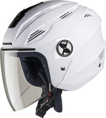 Steelbird SBA-6 Hook Open Face Helmet in White with Plain Visor Motorbike Helmet(White)