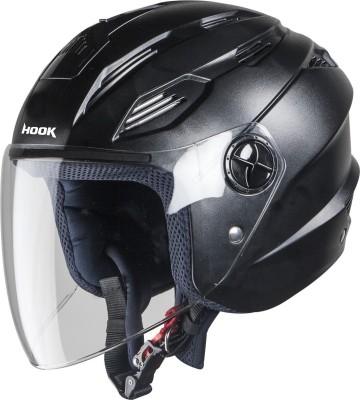 Steelbird SBA-6 Hook Open Face Helmet in Black with Plain Visor Motorbike Helmet(Black)