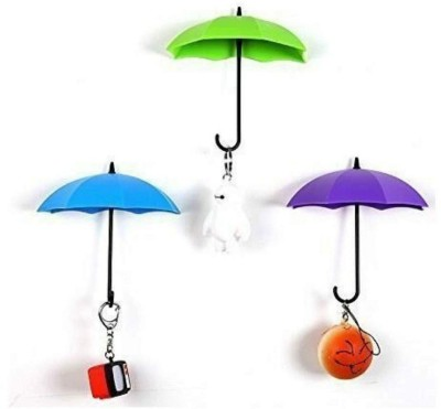 DEVEN ENTERPRISE Umbrella Shape Key Holder Plastic Key Holder(3 Hooks, Multicolor)
