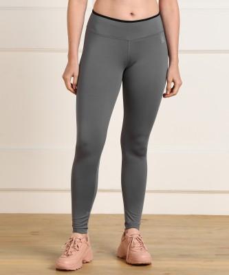 REEBOK Solid Women Grey Tights