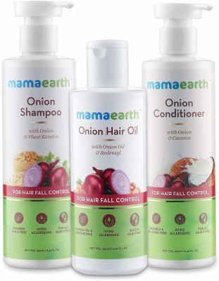 """Mamaearth """"Anti Hair Fall Spa Range with Onion Hair Oil + Onion Shampoo + Onion Conditioner for Hair Fall Control""""(3 Items in the set)"""