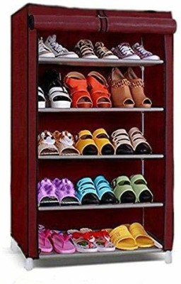Yutiriti 5 Layer Shoe Rack with Cover Space Saver Storage Organised Metal Shoe Stand(Maroon, 5 Shelves)