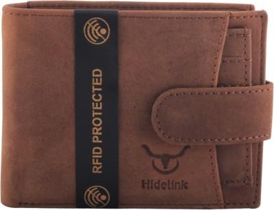 Hidelink Men Casual Brown Genuine Leather Wallet 6 Card Slots