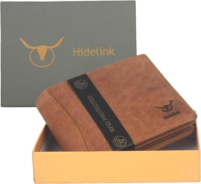 Hidelink Men Casual Tan Genuine Leather Wallet(8 Card Slots)