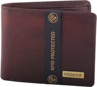 Hidelink Men Casual Brown Genuine Leather Wallet 3 Card Slots