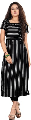 jency fashion Women Striped Straight Kurta(Black)