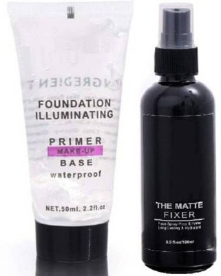 Anytime shops Anytimeshops super quality matte fixer with primer Primer  - 150 ml(Multicolor)