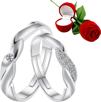 SILVER SHINE Couple Rings for lovers Silver Plated Adjustable Couple Ring with 1 Piece Red Rose Gift Box for Men and Women Alloy Ring Set