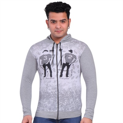 CQS FASHION Printed Men Hooded Neck Grey T-Shirt