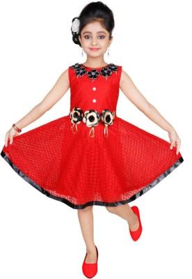 ENKINDLE Girls Midi/Knee Length Party Dress Red, Sleeveless