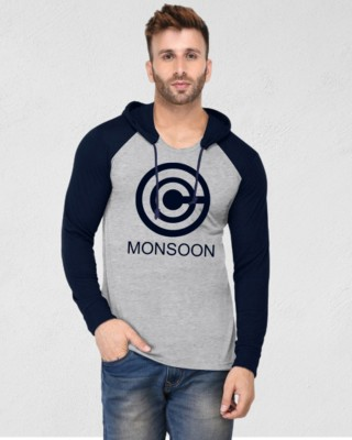 Azy Fabrics Printed Men Hooded Neck Grey T-Shirt