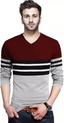 Tripr Striped Men V Neck Maroon, Grey T-Shirt
