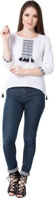 AANIA Casual Regular Sleeve Embroidered Women White Top AANIA Women's Tops