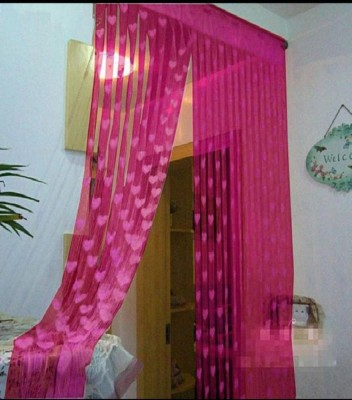 Flipkart SmartBuy 214 cm (7 ft) Polyester Door Curtain Single Curtain(Self Design, Pink)