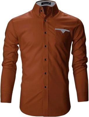 FINIVO FASHION Men Solid Casual Orange Shirt