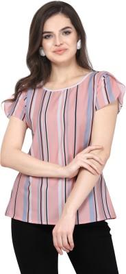 The Queens Walk Casual Petal Sleeve Striped Women Blue, Pink Top