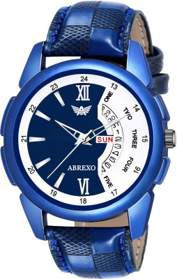 Abrexo Abx1202-BL White & Blue Day and Date Analog Watch - For Men