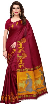 MISILY Self Design Kalamkari Cotton Blend, Poly Silk Saree(Maroon)