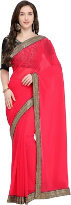 Payal Sarees Solid Fashion Chiffon Saree Pink