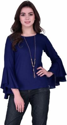VAANYA Casual Butterfly Sleeve Solid Women Dark Blue Top