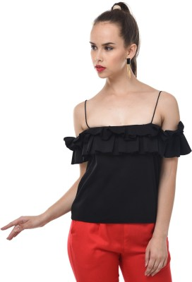 BuyNewTrend Casual Ruffled Sleeve Solid Women Black Top BuyNewTrend Women's Tops