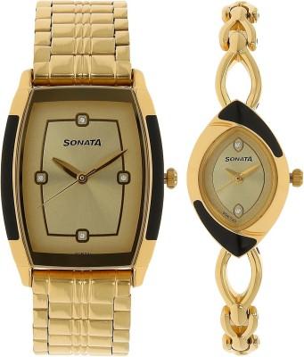 Sonata 70808069YM02C Analog Watch  - For Couple