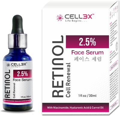 CELL3X Retinol 2.5% Cell Renewal Face Serum with Niacinamide, Hyaluronic Acid & Carrot Oil.(30 ml)