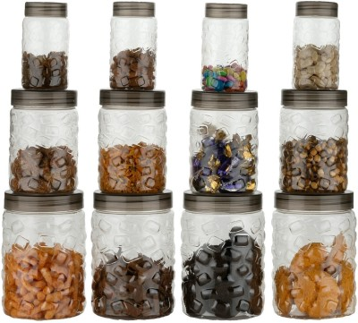 2Mech airtight jar Set Chekers Grocery Storage Container Set of 12 Piece  - 350 ml, 650 ml, 1200 ml Plastic Grocery Container(Pack of 12, Multicolor)