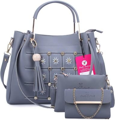 Fiesto fashion Women Grey Messenger Bag(Pack of: 3)