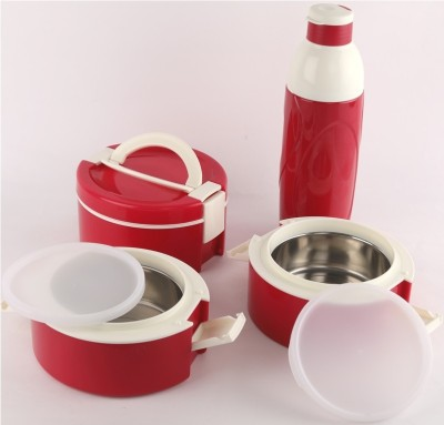 cello decker lunch tiffin bottle combo red 3 Containers Lunch Box(1200 ml)