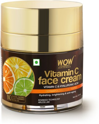 WOW SKIN SCIENCE Vitamin C Face Cream - Oil Free, Quick Absorbing - For All Skin Types - No Parabens, Silicones, Color, Mineral Oil & Synthetic Fragrance - 50mL(50 ml)