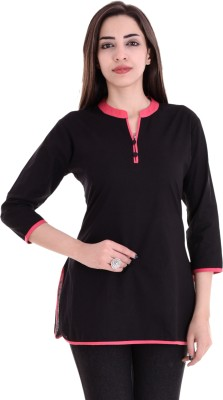 Blezza Casual 3/4 Sleeve Solid Women Black Top