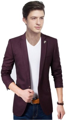 Personality plus Solid Single Breasted Festive, Party, Casual, Wedding Men Blazer(Purple)