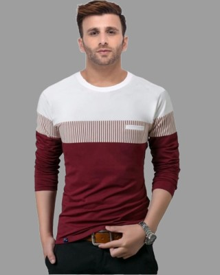 FastColors Solid Men Round Neck White, Maroon T-Shirt
