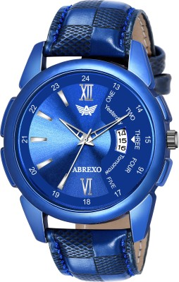 Abrexo Abx8089-BL Blue Dial Leather Strap Date Feature Water-Resistant Quartz Boys Analog Watch  - For Men