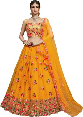 SkyTara Embroidered Semi Stitched Lehenga Choli(Yellow)