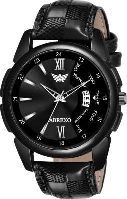 Abrexo Abx8089-BK Black Dial Black Leather Strap Date Feature Water-Resistant Quartz Boys Analog Watch  - For Men