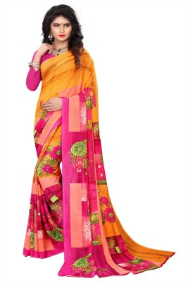 Kanooda Prints Floral Print Bollywood Georgette Saree Orange